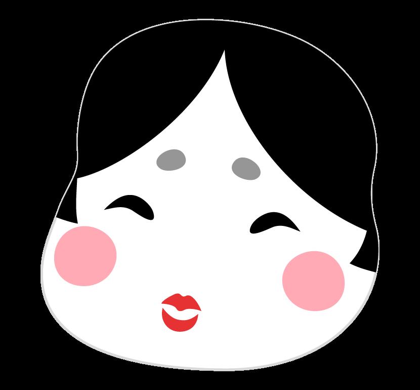 おかめ(お多福)のイラスト