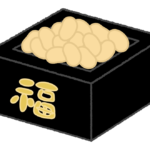 黒い升に入った節分の豆のイラスト