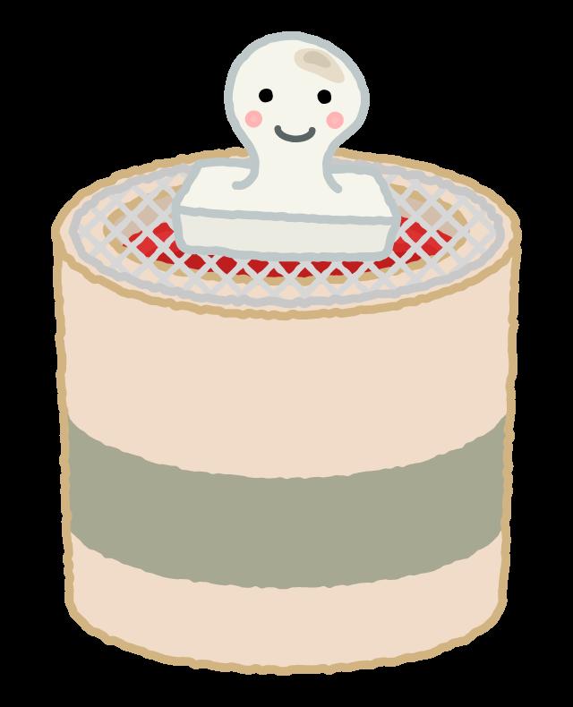 かわいいお餅と七輪のイラスト