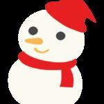 赤いマフラーをした雪だるまのイラスト