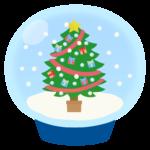 クリスマスツリーのスノードームのイラスト