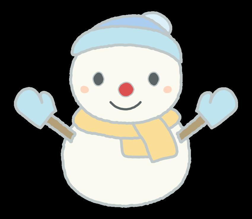 帽子とマフラーをした雪だるまのイラスト