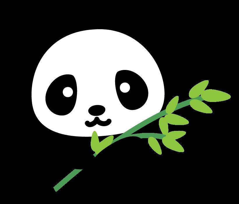 笹とかわいいパンダのイラスト