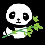 笹を持ったかわいいパンダのイラスト