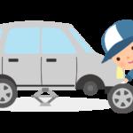 整備士とタイヤ交換のイラスト