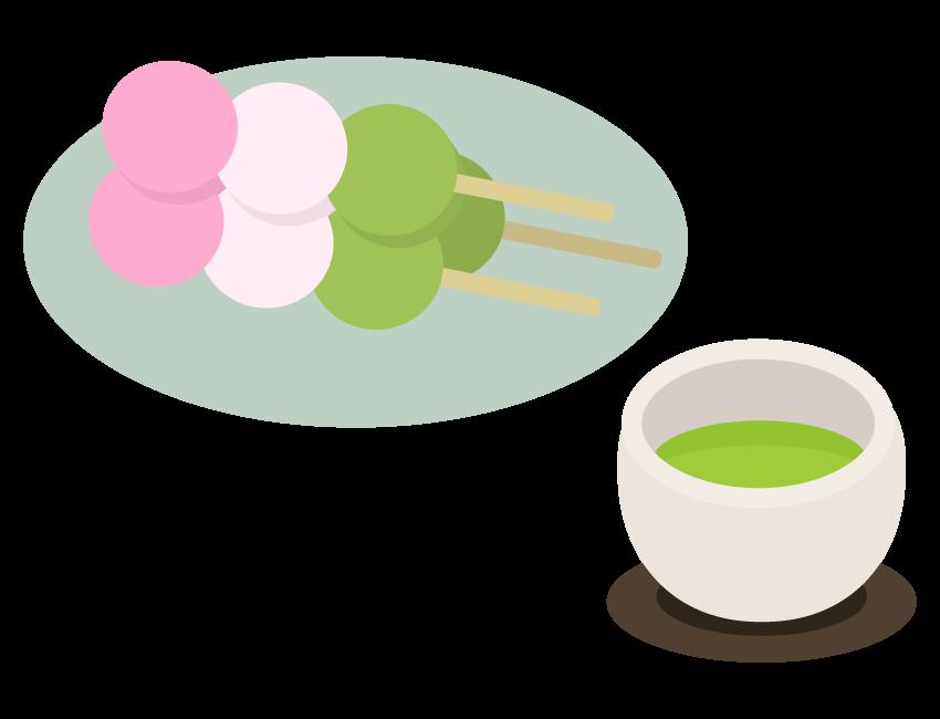 お茶とお団子のイラスト