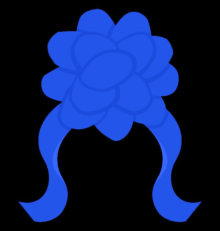 花の青いリボンのイラスト