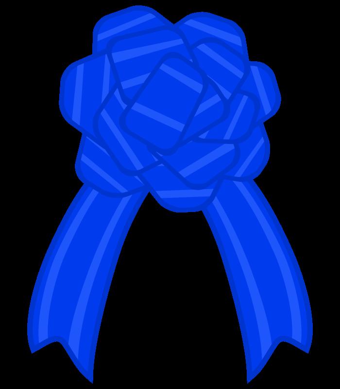 花の青いリボンのイラスト02