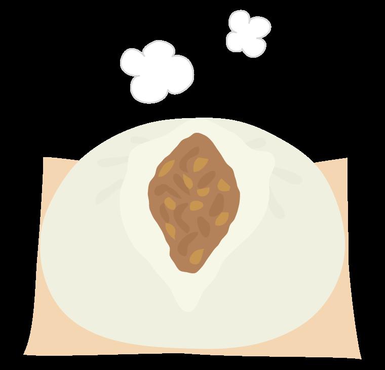 ほかほかの肉まんのイラスト
