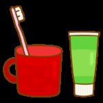 歯ブラシとコップと歯磨き粉のイラスト