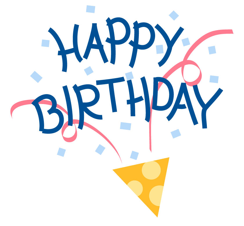 クラッカーと「HAPPY BIRTHDAY」の文字のイラスト