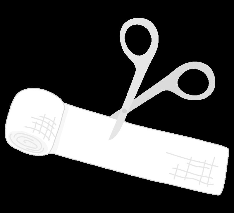 医療バサミと包帯のイラスト