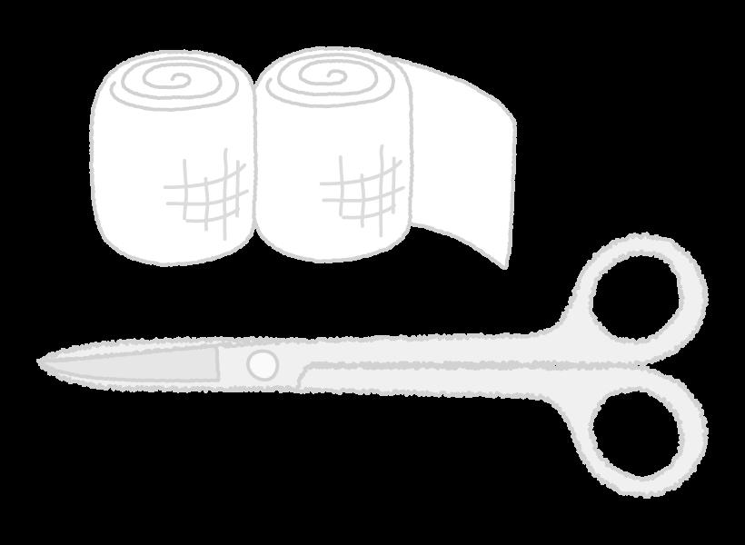 医療バサミと包帯のイラスト02