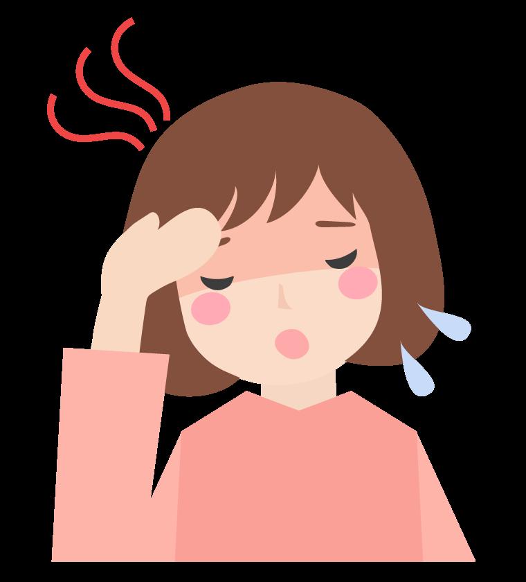 熱っぽい症状の女性のイラスト