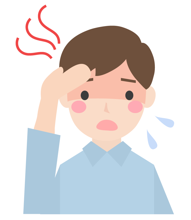 熱っぽい症状の男性のイラスト