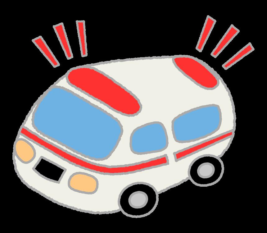 サイレンが鳴っている救急車のイラスト