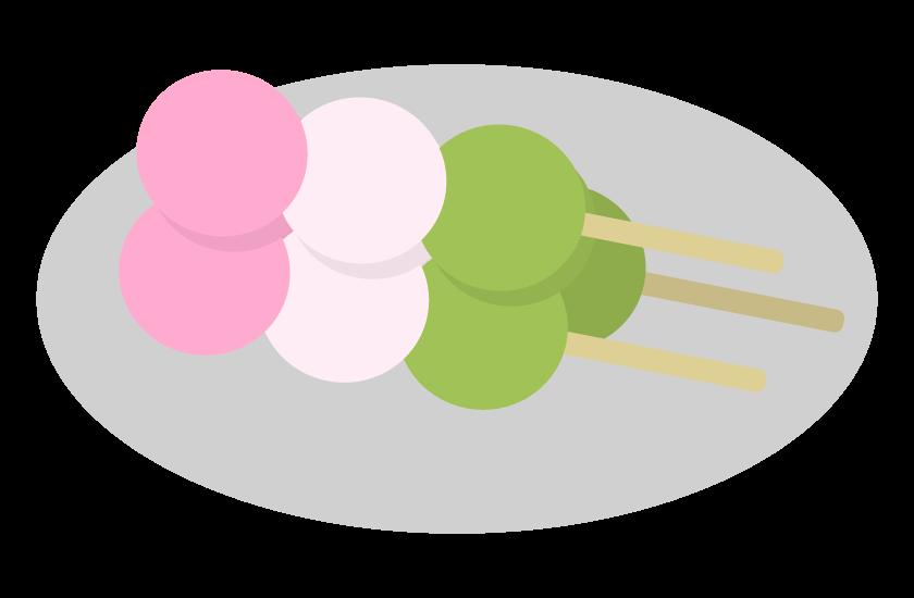 お皿に乗った三色団子のイラスト
