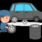 タイヤ交換をしている整備士のイラスト