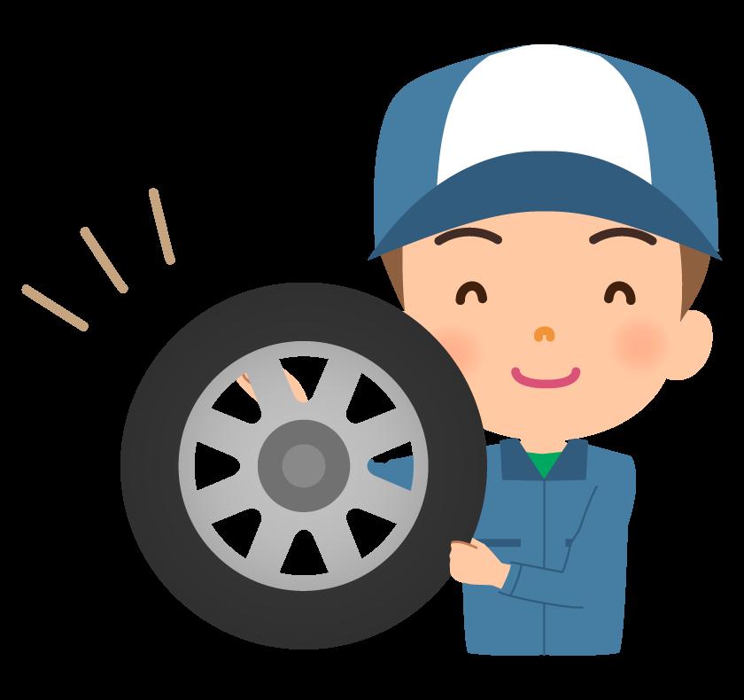 笑顔の整備士とタイヤのイラスト