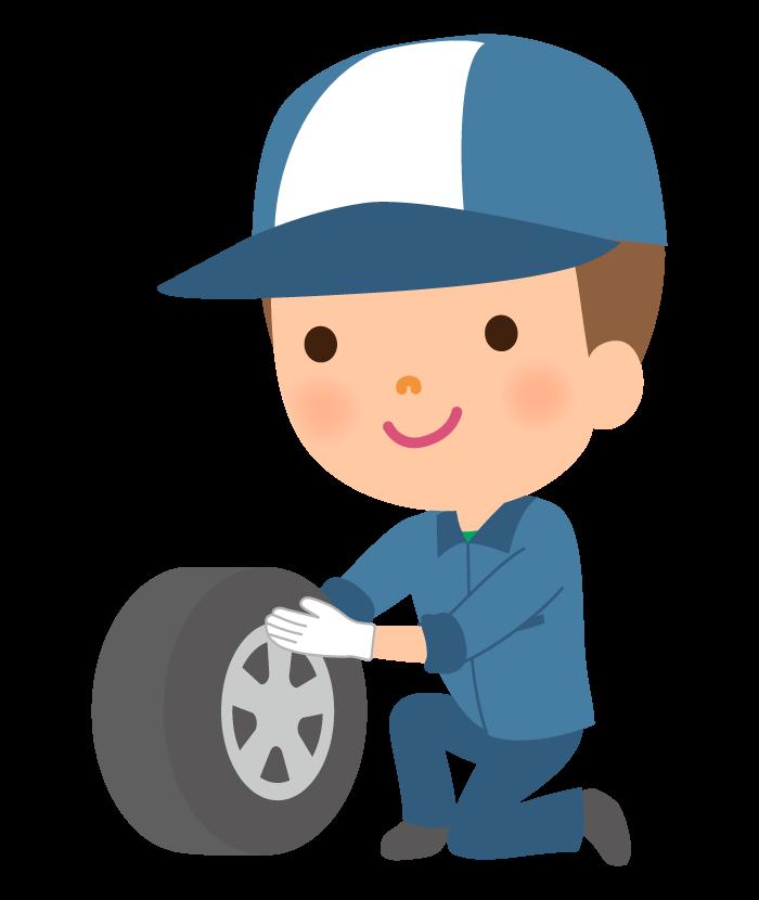 整備士とタイヤのイラスト