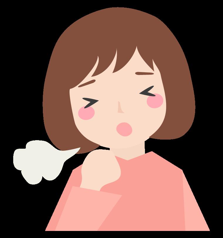咳をしている女性のイラスト