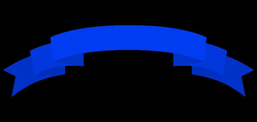 青い帯のリボンのイラスト02