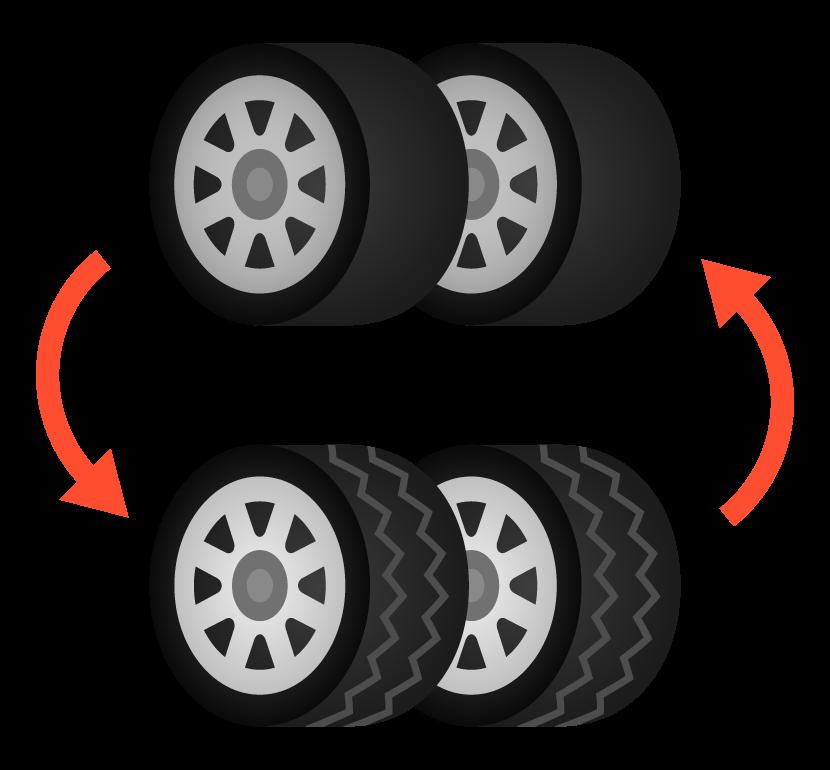 サマータイヤとスタッドレスタイヤの交換のイラスト