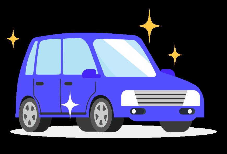 ピカピカの車のイラスト