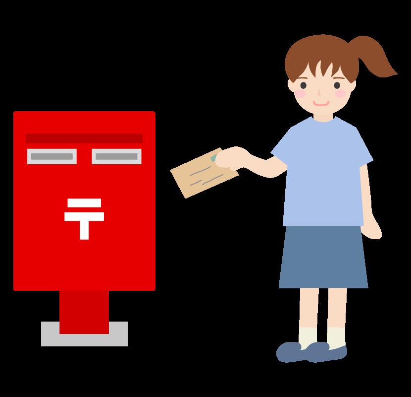 郵便ポストへ投函している女性のイラスト
