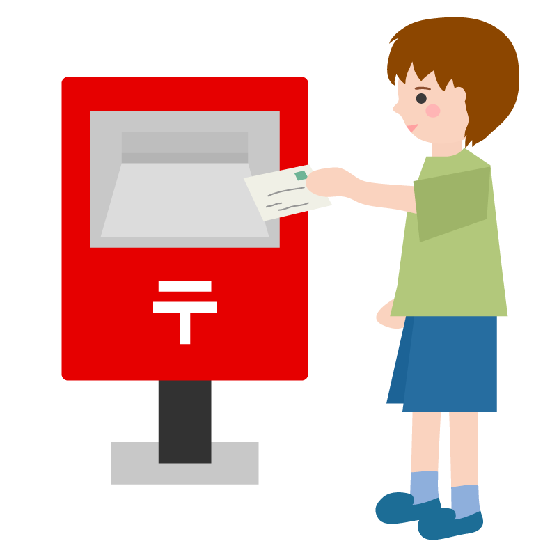 郵便ポストへ投函している男性のイラスト