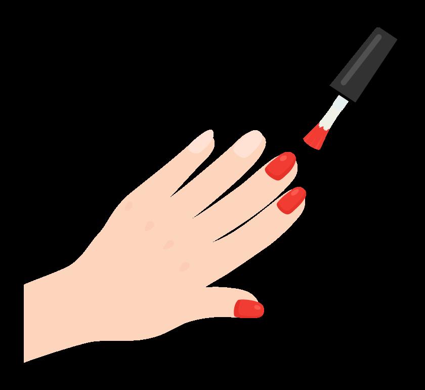 ネイルポリッシュ・マニキュアを爪に塗っているイラスト