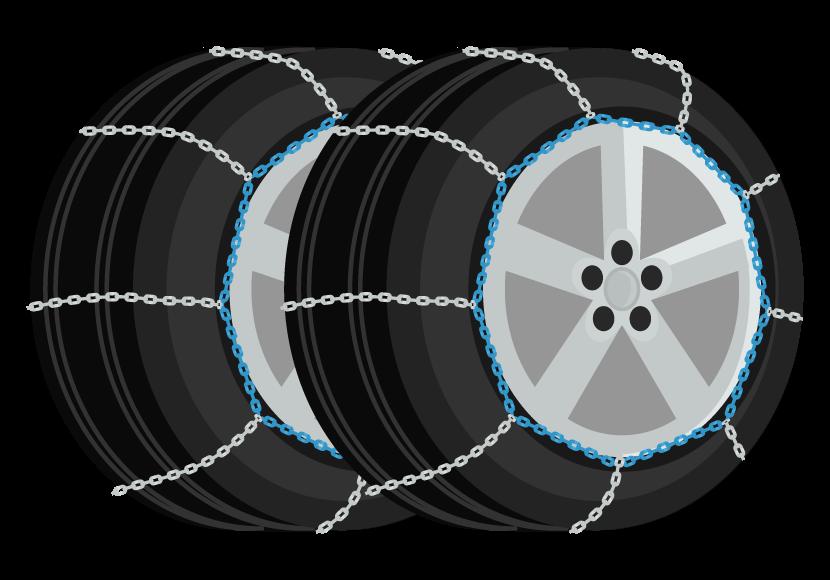チェーン付きのタイヤ(2本)のイラスト