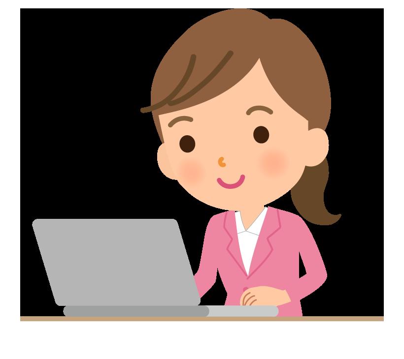 デスクワークをする女性会社員のイラスト