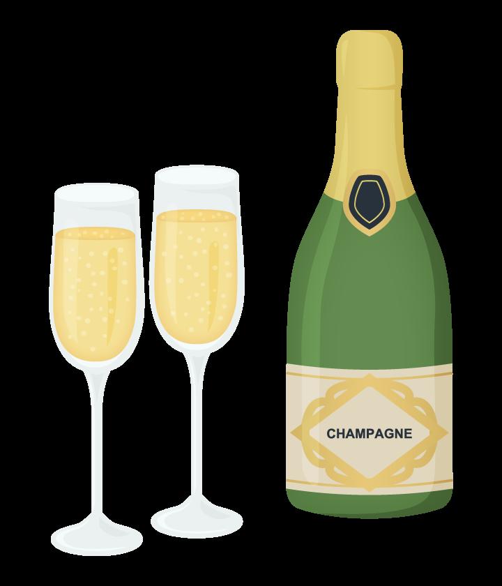 シャンパンのボトルとグラスのイラスト