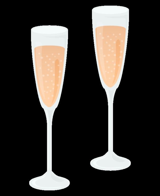二つのシャンパングラスのイラスト