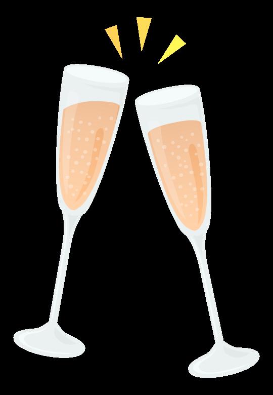 シャンパングラスで乾杯のイラスト