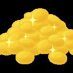 たくさんの金貨・コインのイラスト