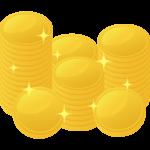 たくさん積まれた金貨・コインのイラスト
