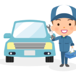 車と工具を持っている整備士のイラスト