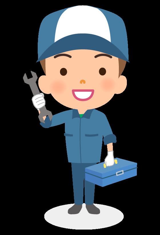 工具箱を持っている整備士のイラスト
