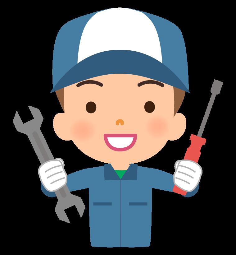 工具を持っている整備士のイラスト
