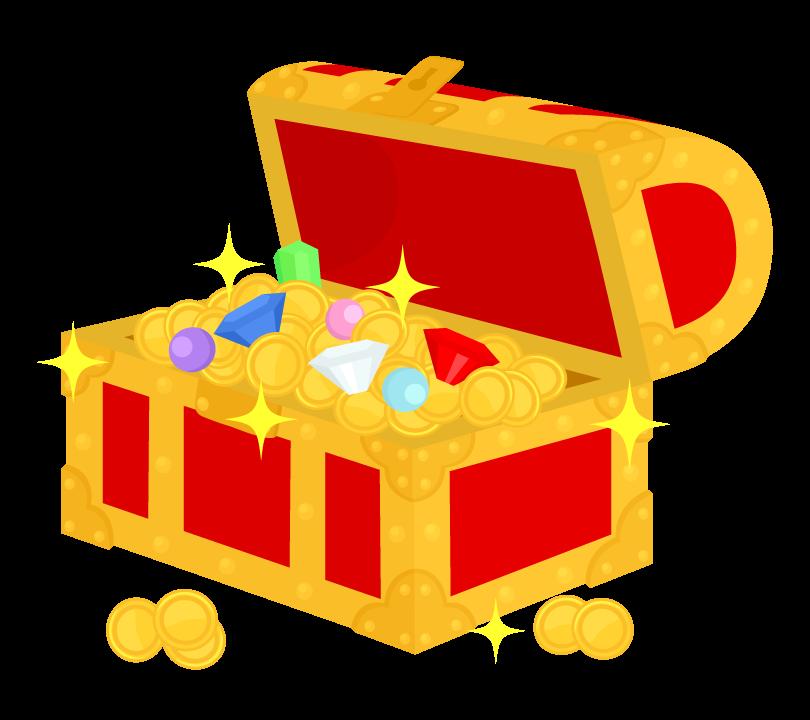 宝石と宝箱のイラスト