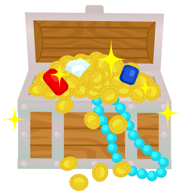 宝箱から宝石が溢れるイラスト