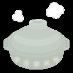 湯気と土鍋のイラスト