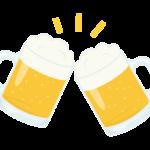 ジョッキのビールで乾杯のイラスト