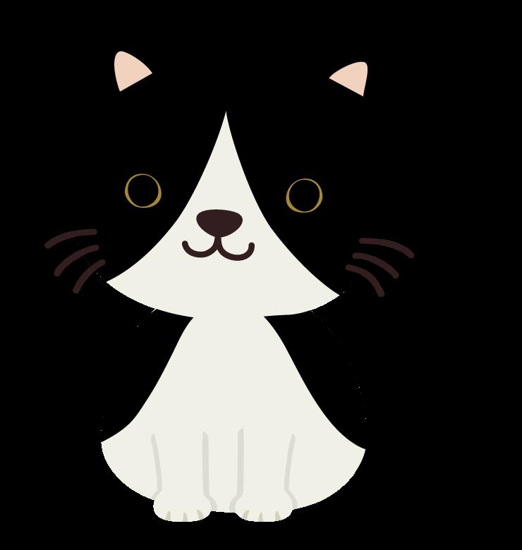 かわいい白黒の猫のイラスト