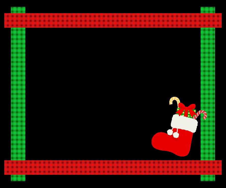 クリスマスブーツと緑と赤のチェック柄フレーム飾り枠イラスト