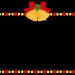 クリスマスベルと赤と黄色の点線フレーム飾り枠イラスト
