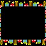 クリスマスプレゼントと星の囲みフレーム飾り枠イラスト