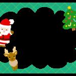 サンタとトナカイとツリーの緑色フレーム飾り枠イラスト